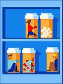 people trapped inside pill bottles sitting on a bottle shelf, prescription drug abuse concept vector illustration