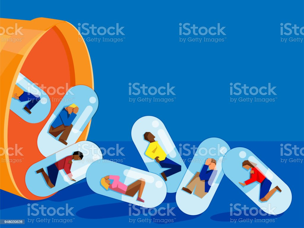 people trapped inside pill capsules that are being emptied out of a pill bottle - prescription drug addiction concept vector art illustration