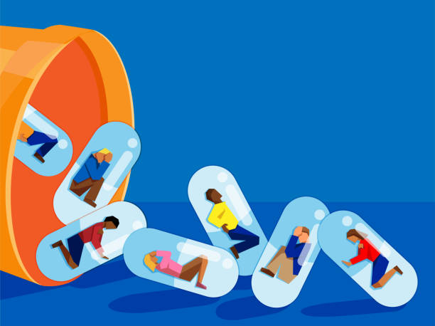 people trapped inside pill capsules that are being emptied out of a pill bottle - prescription drug addiction concept vector illustration of multiracial adults encapsulated and being dropped from a large pill bottle. concept for prescription drug addiction/abuse. addict stock illustrations