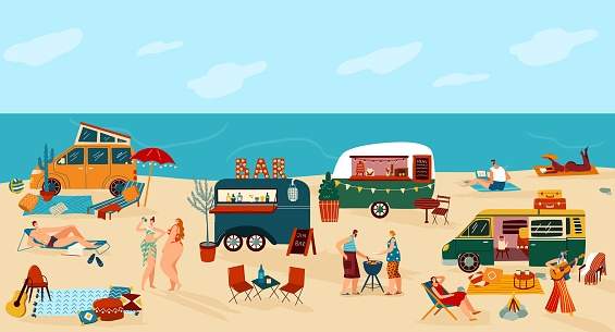 People travel in trailer vector illustration, cartoon flat happy man woman traveler camper characters have fun on camping beach festival