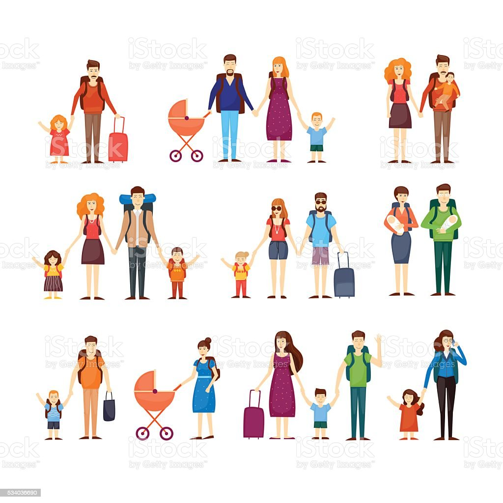 People travel with children, families. Characters vector art illustration