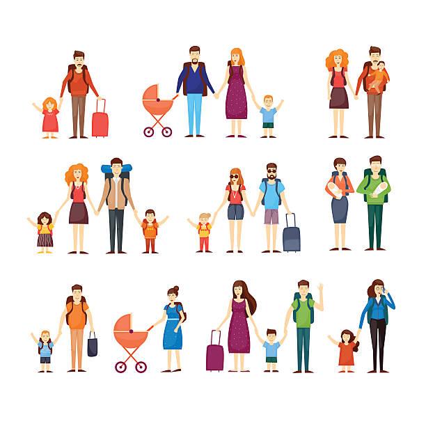 ilustraciones, imágenes clip art, dibujos animados e iconos de stock de la gente viaja con niños, familias. características - viajes familiares