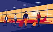 istock People Traveler Wearing Face Masks Safe Travel Walking at Airport Gate Terminal 1262906228