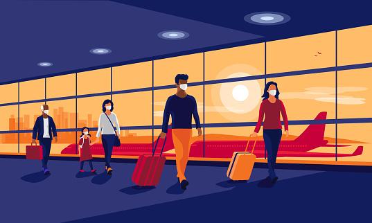 People Traveler Wearing Face Masks Safe Travel Walking at Airport Gate Terminal