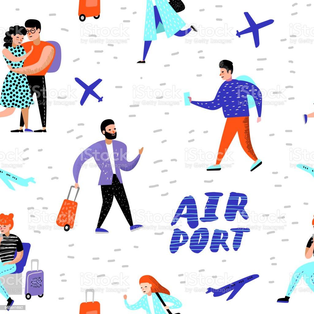 Personnes Qui Voyagent Par Avion Seamless Pattern