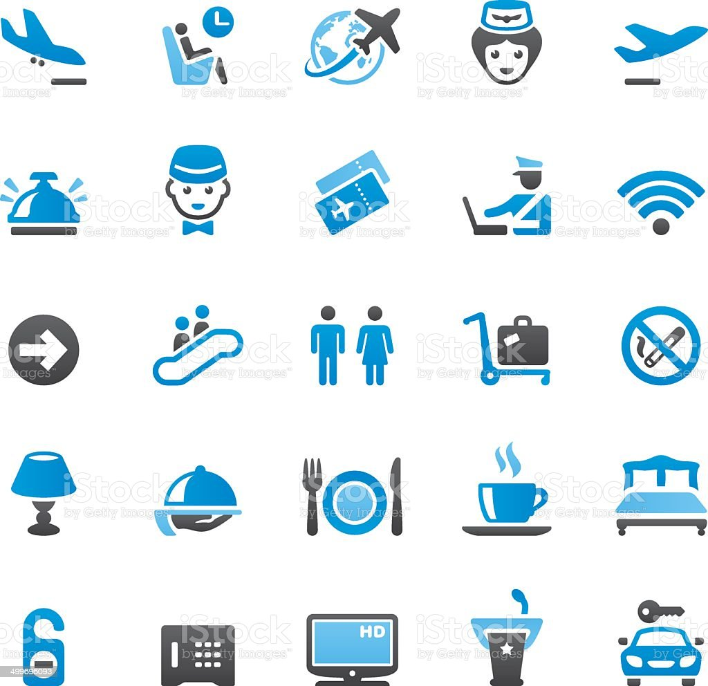 People Traveling icons set vector art illustration
