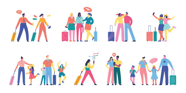 People traveling set Easily editable flat vector illustration on layers. happy family stock illustrations