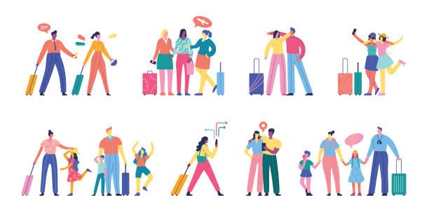 illustrations, cliparts, dessins animés et icônes de personnes voyageant ensemble - vacances en famille