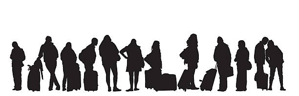 People Traveling People traveling waiting in line. airport silhouettes stock illustrations