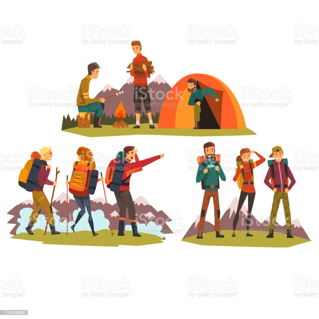 People travelling together, camping , tourists camping, hiking in...