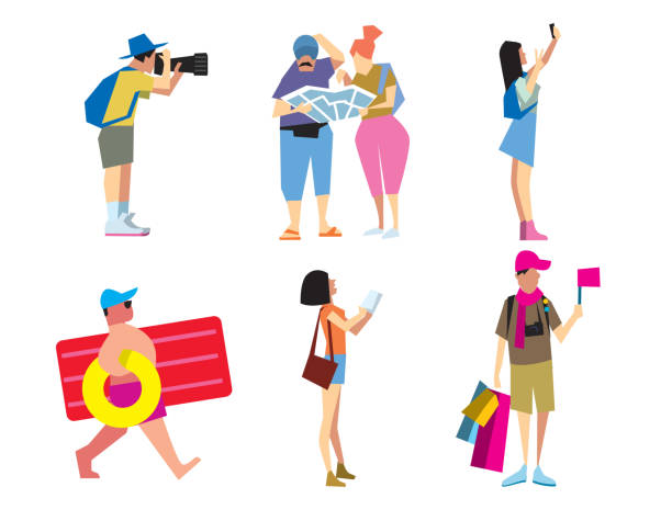 people travelling, vector illustration - tourist stock illustrations