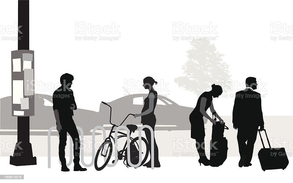 People Travelling Vector Silhouette vector art illustration
