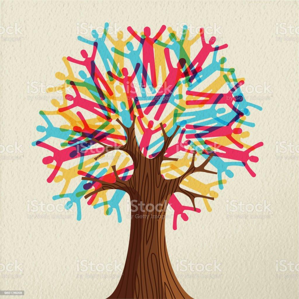 Concepto de árbol de personas de diversas comunidades - ilustración de arte vectorial