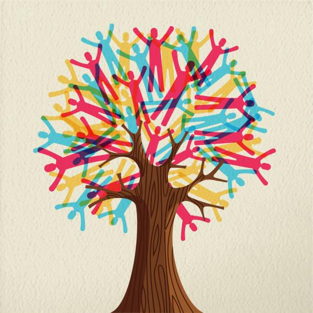 menschen baum konzept für vielfältige gemeinschaft - stammbäume stock-grafiken, -clipart, -cartoons und -symbole