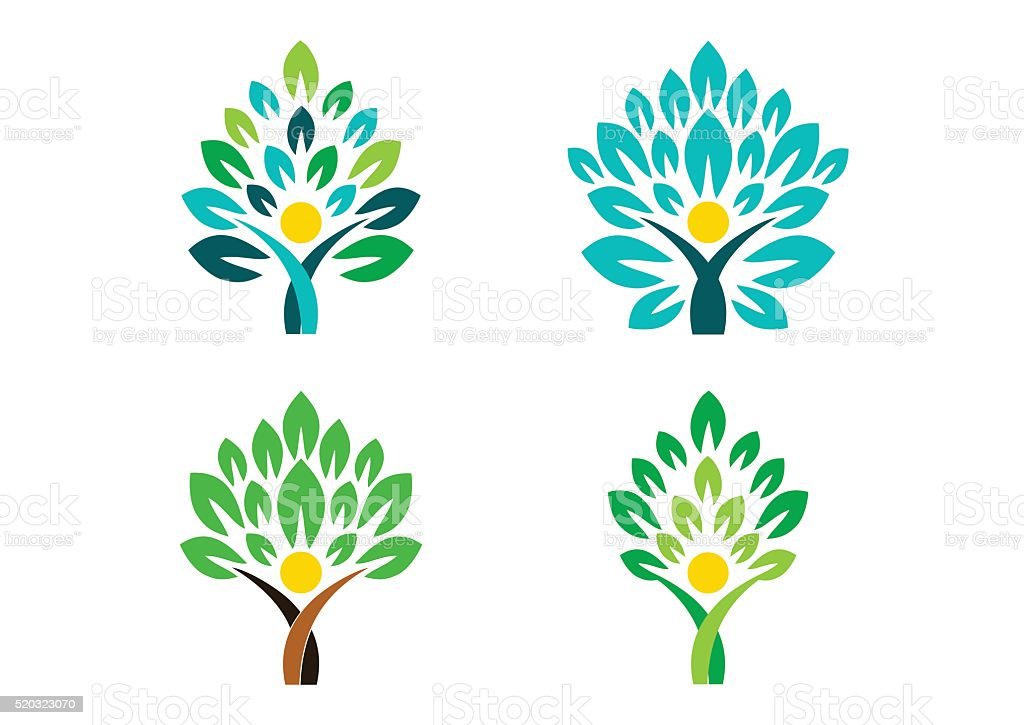 people tree logo, people wellness symbol icon set vector design - Royalty-free Abstract stock vector