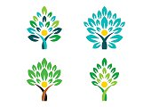 people tree logo, people wellness symbol icon set vector design