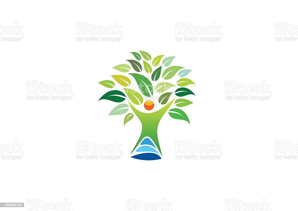 Gens logo arbre, symbole de remise en forme et de bien-être, icône de vecteur de design - Illustration vectorielle