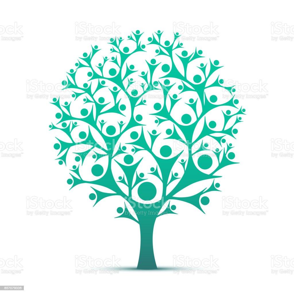 People tree signe couleur vert. - Illustration vectorielle