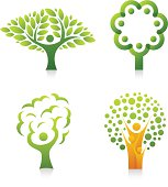 Collection of tree with people design element.