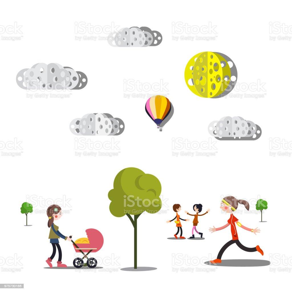 Menschen, Bäume und Wolken - Lizenzfrei Baum Vektorgrafik