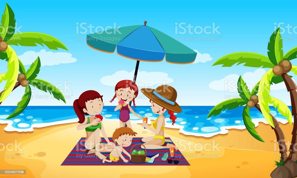 People under an umbrella beach scene vector art illustration