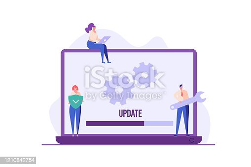 istock People updating operation system with progress bar. Software upgrade and installation program. Concept of system update, integration, software installation. Vector illustration for UI, mobile app 1210842754