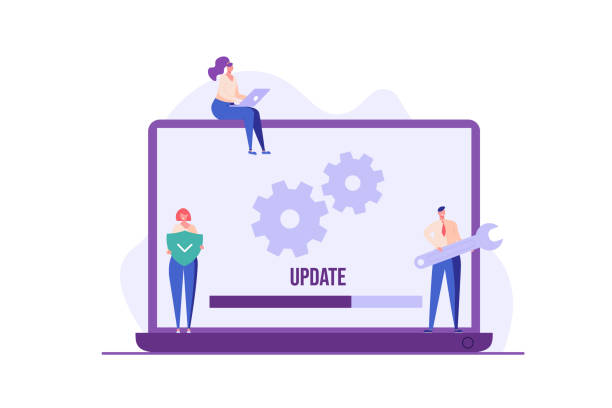 People updating operation system with progress bar. Software upgrade and installation program. Concept of system update, integration, software installation. Vector illustration for UI, mobile app People updating operation system with progress bar. Software upgrade and installation program. Concept of system update, integration, software installation. Vector illustration for UI, mobile app software update stock illustrations