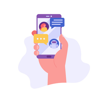 People use chat bot services, hand holds phone with virtual assistant. Concept of business development, sales increase, help service, customer service robot. Vector illustration in flat design