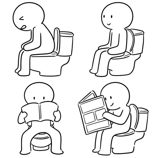 Royalty Free Man Sitting Toilet Drawings Clip Art, Vector