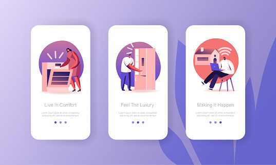 People Use Smart Technics for Home Mobile App Page Onboard Screen Set. Man and Woman on Kitchen Using Wireless Oven and Refrigerator Concept for Website or Web Page, Cartoon Flat Vector Illustration