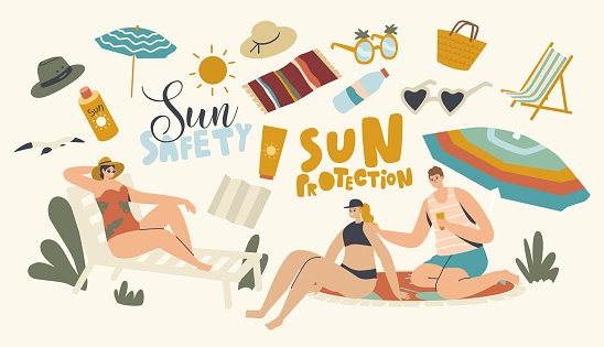 People Use Sun Protection Concept. Male and Female Characters on Beach Put Sunscreen Cream on Skin. Summer Vacation