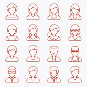People userpics line icons in flat style in circle button. Different man and woman. Vector illustration.