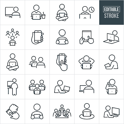 People Using Computers and Devices Thin Line Icons - Editable Stroke