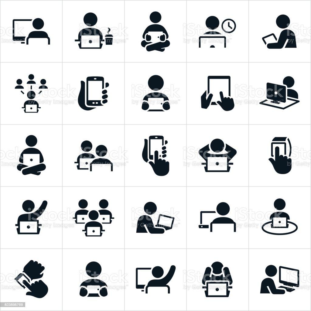 Usando computadoras iconos de personas - ilustración de arte vectorial