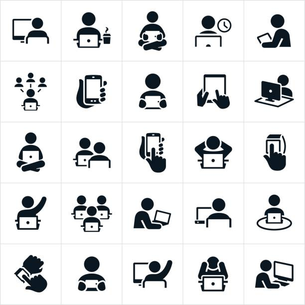 people using computers icons - office job stock illustrations, clip art, cartoons, & icons