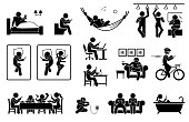 Icons depict human with smartphone on bed, toilet, train, sofa, and bathtub. They also use phone during work, meal, resting, cycling and charging battery.