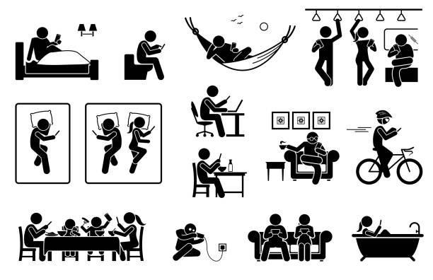 people using phone at different places. - family dinner stock illustrations