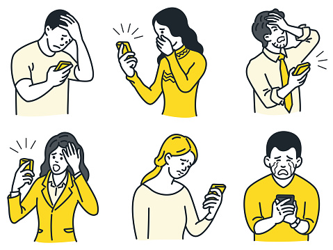 People using smartphone with unhappy emotion