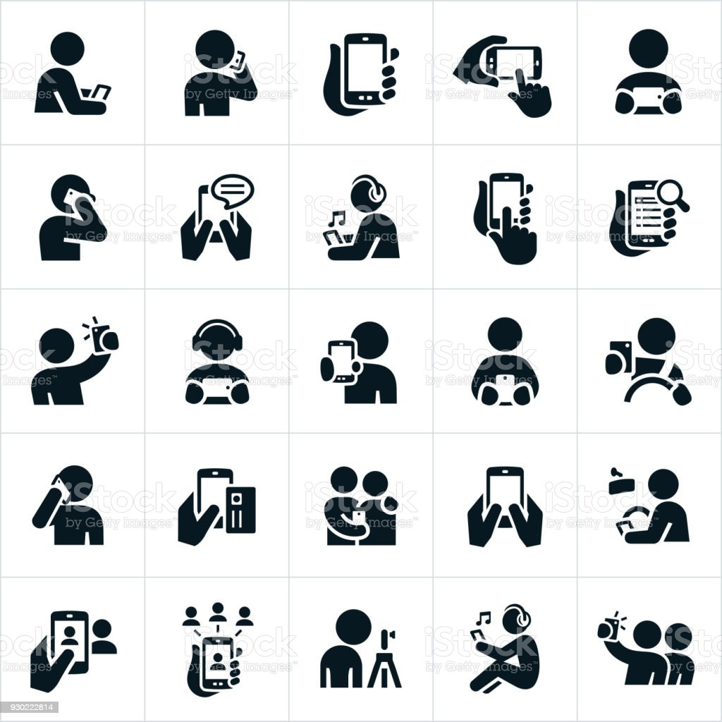 People Using Smartphones Icons vector art illustration