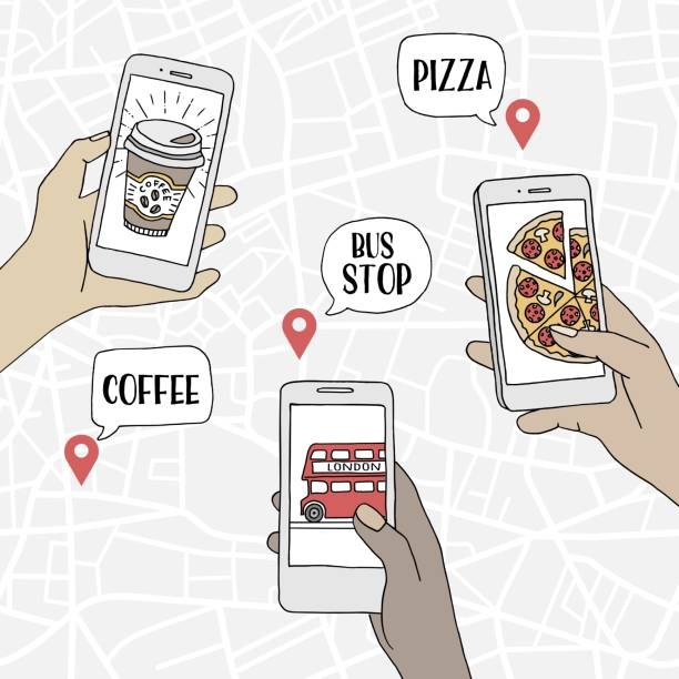 People using their smartphones to find restaurants and public transport vector art illustration