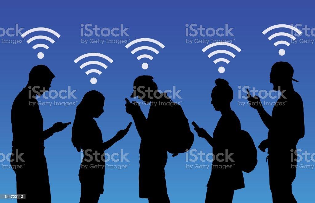 People Using Wireless Smart Phones vector art illustration