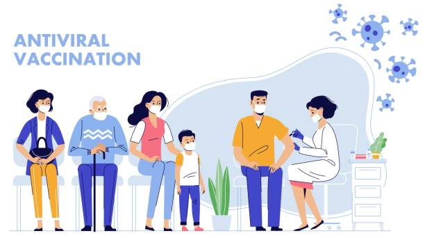 People vaccination concept for immunity health. Covid-19. Doctor makes an injection of flu vaccine to man in hospital.  Patients are waiting in line. Healthcare, coronavirus, prevention and immunize. covid vaccine stock illustrations
