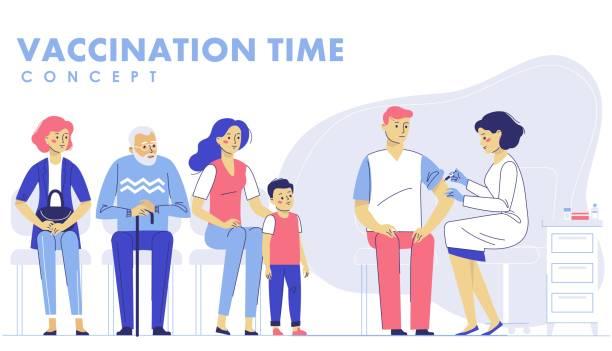 stockillustraties, clipart, cartoons en iconen met mensen vaccinatie concept voor immuniteit gezondheid. - vaccinatie