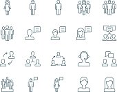 People vector icons set simple linear style