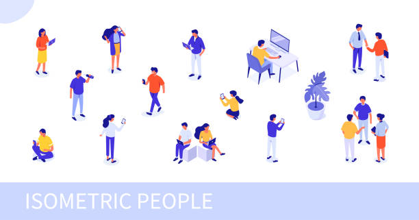 people People at work concept design. Can use for web banner, infographics, hero images. Flat isometric vector illustration isolated on white background. business laptop stock illustrations
