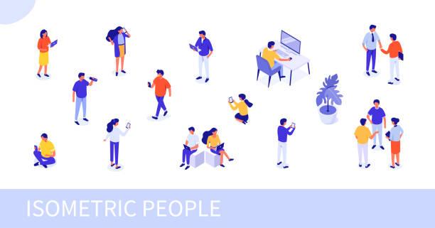 ilustraciones, imágenes clip art, dibujos animados e iconos de stock de gente - proyección isométrica