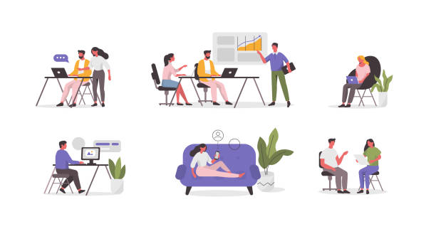 people - office stock illustrations