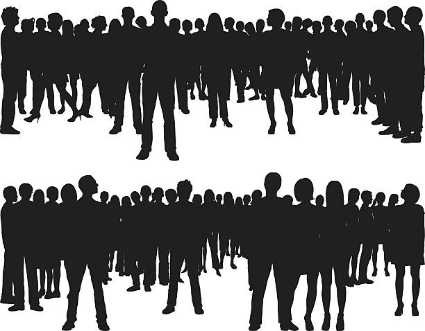 People (68 Complete, Moveable Silhouettes) Crowds. The people silhouettes are complete. watching stock illustrations