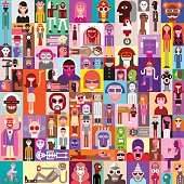 Large vector collage of various people portraits. Can be used as seamless background.