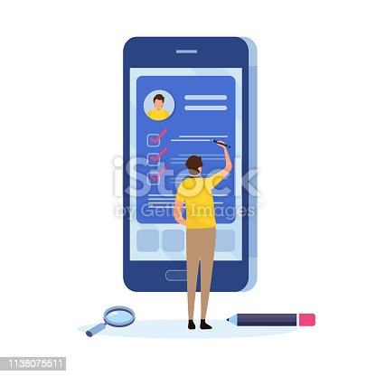 People fill out a form via mobile application. Online application. Cartoon miniature  illustration vector graphic on white background. Web banner.